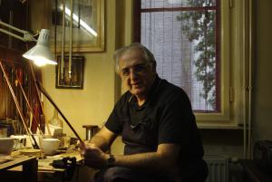 József Horváth in his workshop
